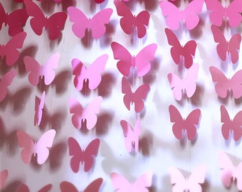 ButterflyGarland Party Decoration- 3D Butterfly backdrop-Butterfly Babyshower decor- Butterfly Bridal Shower Decoration