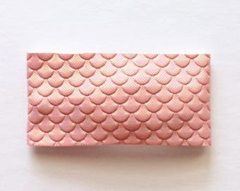 Pink mermaid tail faux leather snap clip