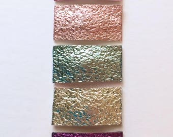 Druzy faux leather snap clips