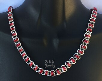 Red & Silver Chainmaille Necklace, Barrel Weave