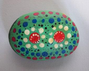 Hand painted, mandala, garden rock, stone ornament.