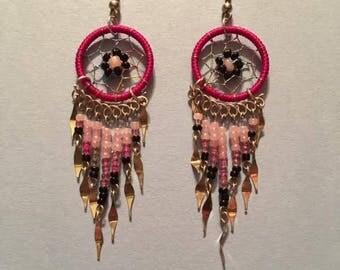 Pink Dream Catcher Earrings