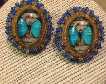 Butterfly Topaz Beaded Medallion Earrings