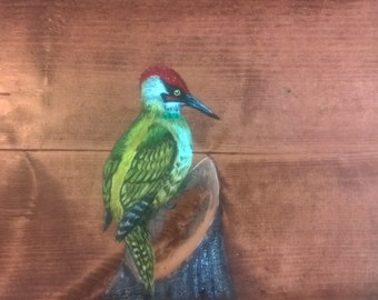 Hand made, hand painted, unique side table - Green woodpecker
