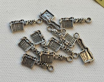Set of 10 Silver Hairbrush Comb Charm Pendants