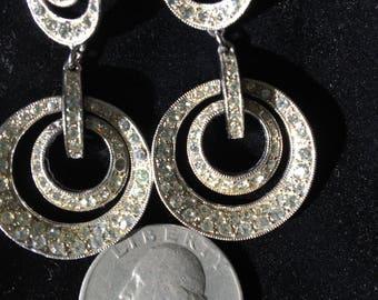 Vintage silver/crystal double circle hoop drop earrings