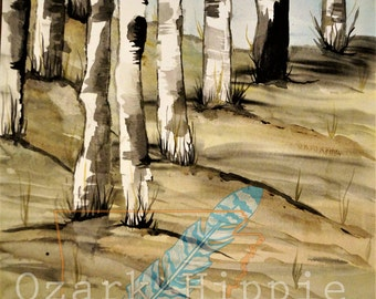 Beauty after the Fire ~ 12 x 18 Matted  Original Watercolor. Black and White Aspen and Birch trees