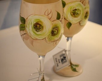 Hand Painted Vintage Rose Wine Glasses(Pair)