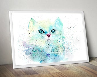 Aquamarine and Lemon color Cat, Abstract Painting, Splashed Watercolors, Hand painted, Instant Download, Digital Art, Home Decor, Printable