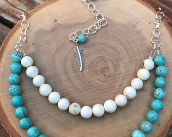 Turquoise Howlite Bib Necklace || Boho Necklace || Semi Precious Necklace || Statement Necklace