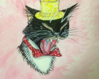 Tuxedo Cat Watercolor