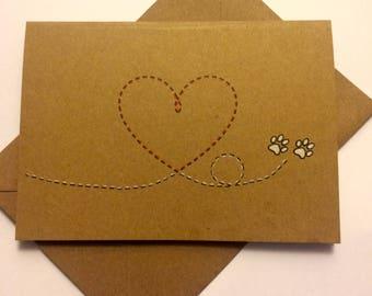 Handmade Paw Print Heart Card
