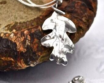 Sterling Silver Handcrafted Oak leaf Necklace