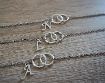 Bracelet double circle and initial, wedding witness bridesmaid bracelet