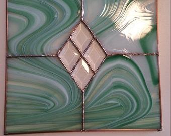 12 x 12 Green/White Glass Panel, 4 Bevels