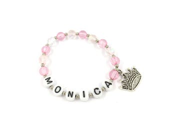 Personalized Pink Bracelet, Pink Princess Party Favors, Princess Birthday Party, Name Bracelet, Bracelet Pink With Crown, Girl Gift Bracelet