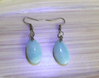 Bronze with stone Amazonite, amazonite earrings amazonite stone, amazonite jewelry earrings