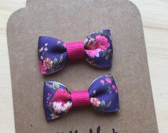 Floral Mini Tuxedo Hair Bows, baby & toddler hair clip, mini bow