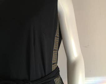 Alfred Shaheen 1970s black gold greek key dress jacket set with belt Vintage  10/12