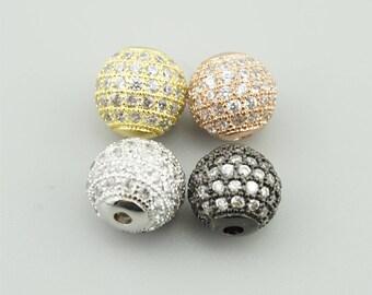 2pcs 10mm CZ Pave Beads Zircon Gemstones Pave Bracelet Connector Zircon Beads WX012