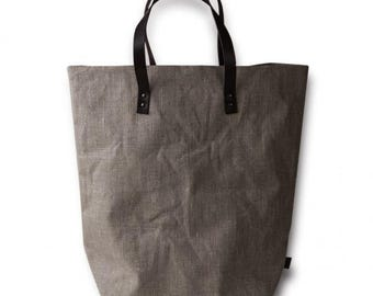 Impregnated linen bag with  leather handles