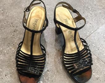 Vintage YSL Yves Saint Laurent Black Patent Leather T Strap Sandals Heels, 90s Women Shoes