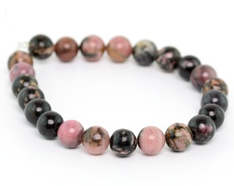 "4MM Rhodonite Natural Gemstone Round Shape Half Strand Loose Beads 7.5"" (100064h-257)"