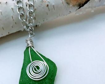 Sea Glass Necklace, Sea Glass Pendant, Green Sea Glass Pendant, Sea Glass Jewelry, Green Sea Glass, Silver Wire Pendant, Wire Wrapped