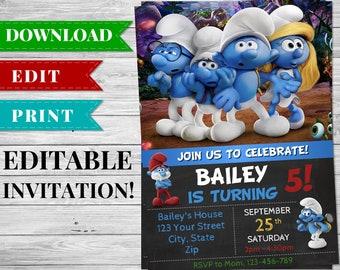 Smurfs Invitation, Smurfs Birthday Party, Smurfs Printables, Smurfs Invite, Smurfs Movie, Smurf Party Supplies