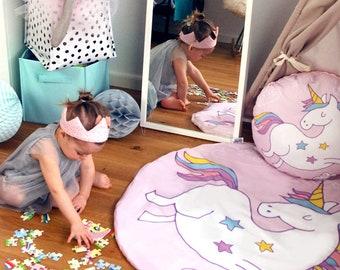 PLAYMAT, Round PlayMat, Baby playmat, Baby Mat, Baby girl playmat, Baby Shower playmat, Girl, Pink PlayMat, Unicorn nursery, pink ucnicorn