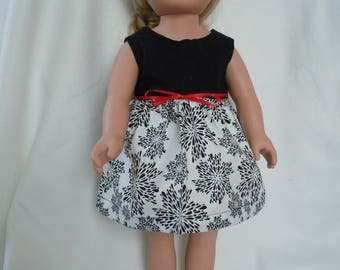 Black and white dress with red ribbon belt. Red ribbon sandals. Fits like American Girl doll clothes,  18 inch doll, clothes AG doll, dress
