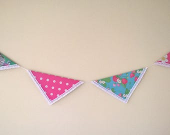Handmade Floral Party Bunting - Strawberry