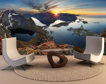 Wall Decor Nature Panorama Mountain Landscape At Sunset, Norway Wall Art, Home decor, Perfect for Bedroom decor