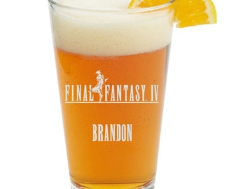 Final Fantasy IV,4,Video Game,Barware,Geeky,Beer Glass, Pint glass,Personalized
