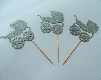 12 x Silver Pram Glitter Cupcake Toppers - Double sided. Baby Shower Decorations, Handcrafted