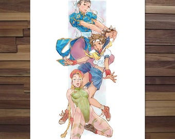 Street Fighter Chunli, Sakura, Cammy Poster - Canvas