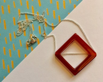 Carnelian geometric pendant on fine sterling silver chain.