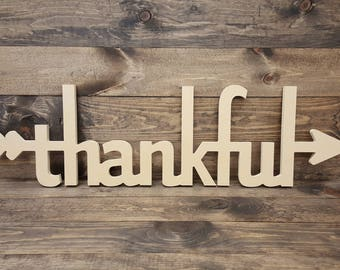 """43"""" Thankful Arrow Cutout Unfinished MDF Typography Sign MM-0065"""