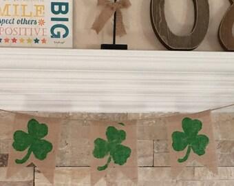 St. Patrick's Day Shamrock burlap banner