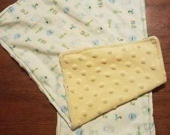 Minky and Flannel Baby Burp Rags Gender Neutral