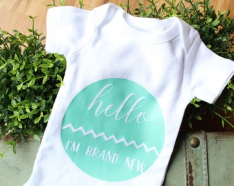 Hello bodysuit, hello brand new, hospital outfit, coming home outfit, newborn outfit, birth announcement, baby shower gift, new baby gift