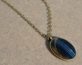 Hawk's Eye Pendant Necklace in Brass