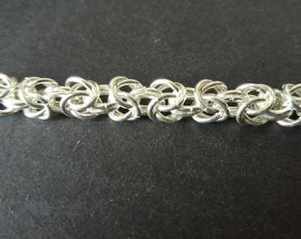 Handmade Sterling Silver Byzantine Chain Bracelet
