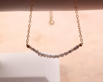 Grey White Rough Diamonds Necklace or Chocker - April Birthstone Jewelry - Diamonds Chic Necklace - Gold Filled Minimalist Jewelry.