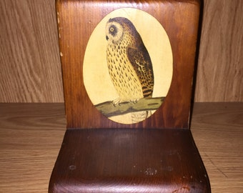 Vintage Wooden Owl Bookend