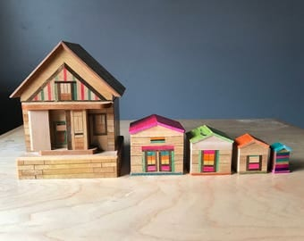 Nesting wooden houses - bank hand painted bank