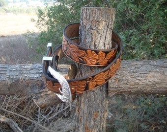 Hand made leather women's belt