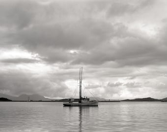 Fine Art Photography, Black and White Photography, Home Decor, Water, Boat, Ocean, Clouds