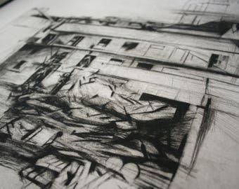 handmade etching in black and white. Architectural print, large