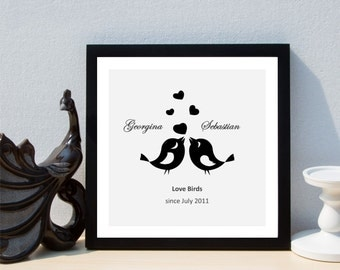 Personalised Love Birds Anniversary Framed Print